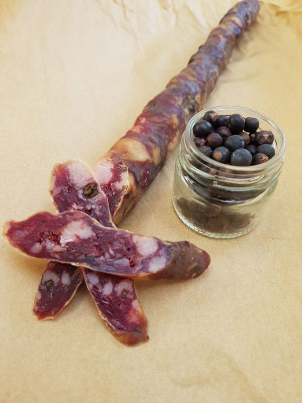Venison salami on table