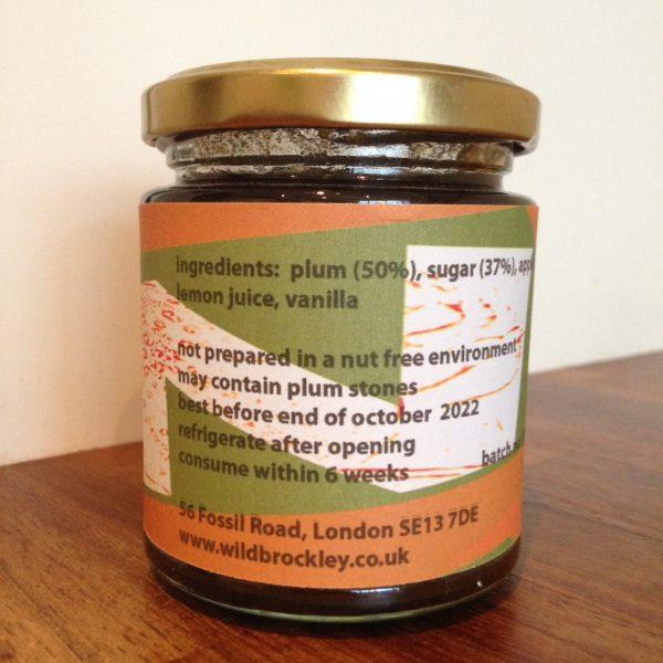 Wild Plum and Vanilla Jam jar back
