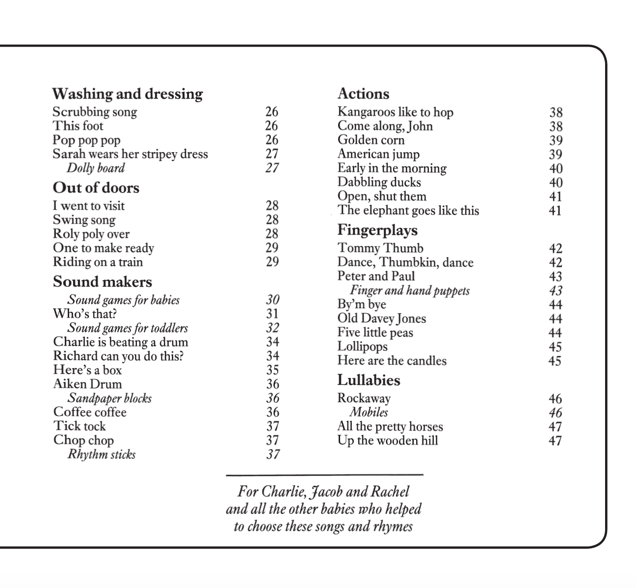 Playsongs contents page 2